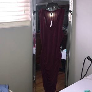Sexy cranberry ruched dress.